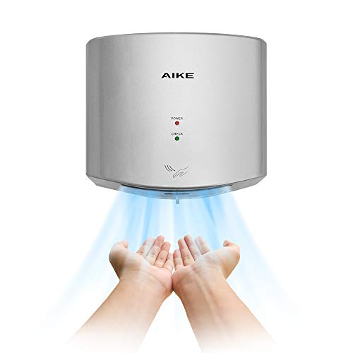 AIKE AK2630S Compact Automatic High Speed Hand Dryer Commercial and Household,ABS Cover 1400W(Silver)