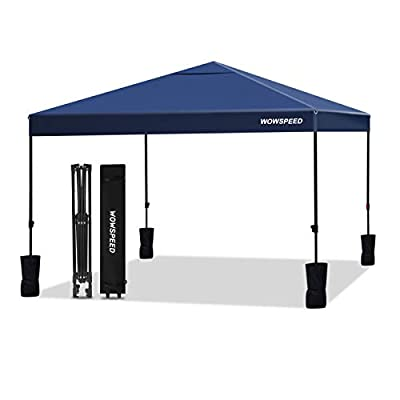 Pop-up Canopy Tent Commercial Instant Canopy, Canopy Tent Shelter with Wheeled Carry Bag,Canopy Sandbags x4,Tent Stakesx4 (Navy Blue, 10'x10')
