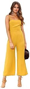 Longwu Mujeres sin Tirantes de la Correa de Espagueti Jumpsuit Moda de Pierna Ancha Pantalones de Cintura Alta Rompers Amarillo-XL
