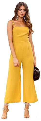 Longwu Mujeres sin Tirantes de la Correa de Espagueti Jumpsuit Moda de Pierna Ancha Pantalones de Cintura Alta Rompers