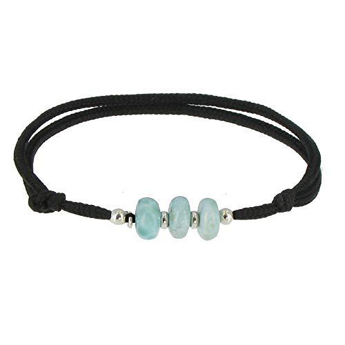 Schmuck Les Poulettes 3 Blue Link Bracelet Dominikanische Larimar Silber Ringe und Perlen