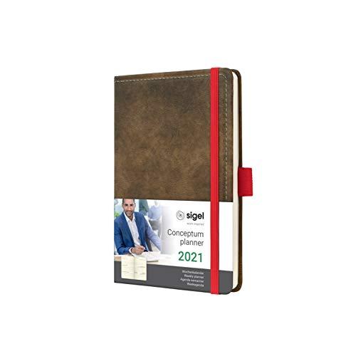 SIGEL C2156 Terminplaner Wochenkalender 2021, ca. A6, Hardcover, Vintage, Leder-Optik braun, mit vielen Extras, Conceptum - weitere Modelle