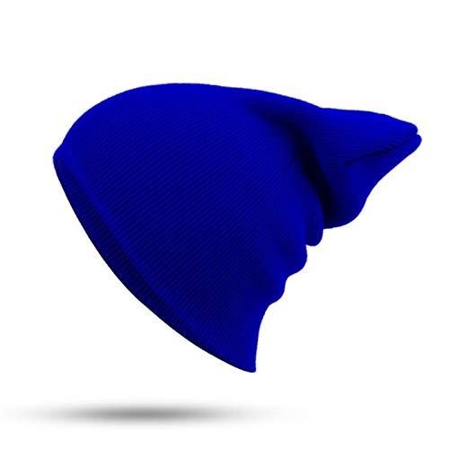 DEMXYA Sombrero de Invierno Beanie, Jersey Knit Otoño e Invierno Ski Ski Papel, Lana Suave Sombrero Casual, Sombrero de Calle para Hombres y Mujeres (Color : Royal Blue)