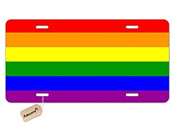 Amcove License Plate Rainbow Flag 6 Stripes Decorative Car Front License Plate,Vanity Tag,Metal Car Plate,Aluminum Novelty License Plate for Men/Women/Boy/Girls Car,6 X 12 Inch