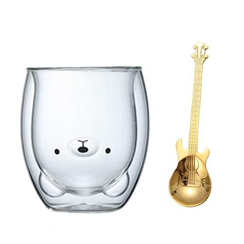 Niedliche Tassen Glas doppelwandige Isoliergläser Espressotasse, Kaffeetasse, Teetasse, Milchbecher, Tierformen für Bär, Katze, Hund, Bestes Geschenk für Büro & Geburtstag & Paar