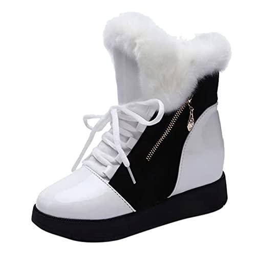 YWLINK Botas De Nieve Calientes De Piel Con Pelo Forradas Con Suela Antideslizante Para Mujer Botas De Nieve Con Cordones Botas De AlgodóN Retro Botas De Felpa Botas de Moda (Blanco, 37)