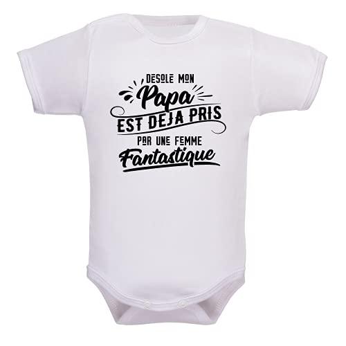 bebe-abord.com Body manches courtes. Bodies enfant. Fille et garçon. Message marrant. Humour. Papa et maman. Cadeau de naissance - blanc, 0-3 mois