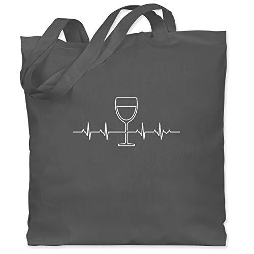 Shirtracer Symbole - Herzschlag Wein - Unisize - Dunkelgrau - wein jutebeutel - WM101 - Stoffbeutel aus Baumwolle Jutebeutel lange Henkel