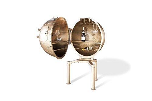 pib Bar Globo Julio Verne - Producto atípico, Producto 100% de Metal, Acabado Cepillado | Un Bar Totalmente Inusual y Fuera de lo Común - Oro Perlado (L81 x H138 x P90 cm)
