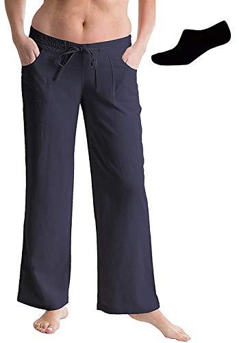 Octave® Damen Leinen Hose und Socken Paket - Dunkelblau, 20