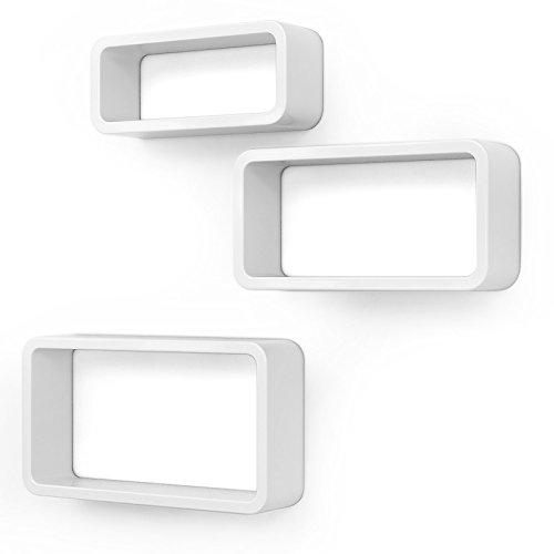 SONGMICS Wandregal, 3er Set, Cube Regal, Schweberegal, Würfelregal, Belastbarkeit bis 15 kg, Länge 44 cm 39 cm 34 cm, weiß, LWS97W