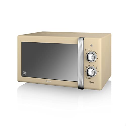 Swan SM22130CN Retro Manual Microwave, 20 Litre, 800w, Cream