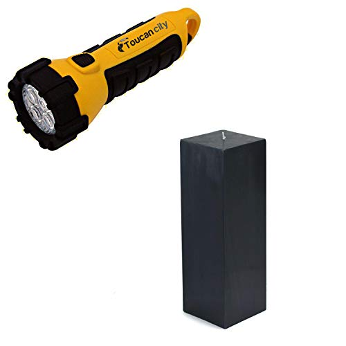 Toucan City LED Flashlight and Zest Candle 3 in. x 9 in. Black Square Pillar Candle Bulk (12-Box) CPZ-161_12