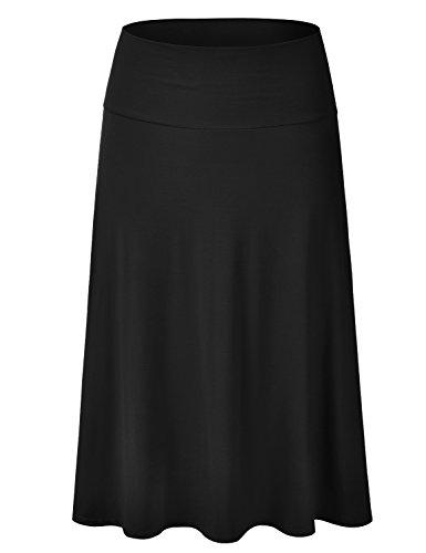EIMIN Women's Solid Flared Lightweight Elastic Waist Classic Midi Skirt Black 1XL