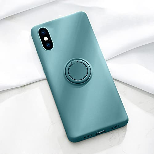 FQSCX iPhone Case Soft Liquid Silicone Case For iPhone 12 11 Pro MAX XS Mini X XR 7 8 6 6S Plus 8Plus Phone Magnetic Covers with Ring Holder Stand Foriphonexxs Darkgreen