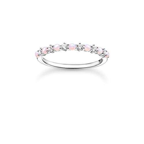 THOMAS SABO filigraner Ring, 925 Sterlingsilber, weiße Zirkonia Steine und rosa Opal-Imitation im French Setting, Ringgröße 56, TR2343-166-7-56