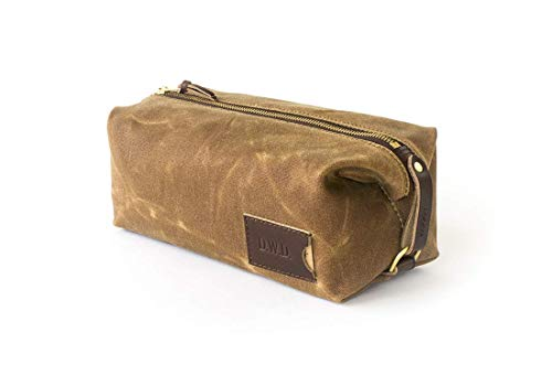 Personalized Dopp Kit: Waxed Canvas, Expandable, Water-resistant Toiletry Bag, Travel, Brown - No. 345 (Made in the USA)