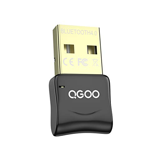 USB Bluetooth Dongle, QGOO Bluetooth 4.0 Adapter Bluetooth Receiver for PC Laptop Desktop Keyboard Mouse Headset Speaker Smartphone Tablet Compatible with Windows 10/8.1/8/7/XP/Vista/XP