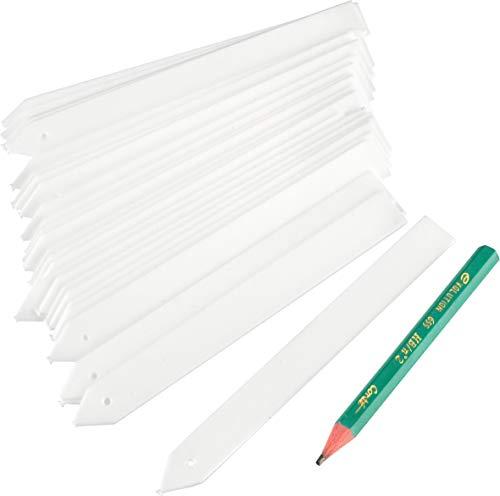 Connex Stecketiketten - Praktisches Set mit 50 Stück - 100 x 12 mm Beschriftungsfläche - Mit Gärtnerstift - Witterungsbeständiges Material - weiß / Pflanzensteckschilder / Kräuterschilder / FLOR78771