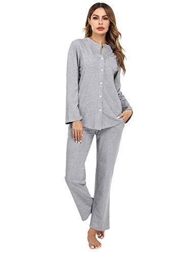 Aiboria Damen Baumwolle Pyjama Einfarbig Schlafanzug Langarm Zweiteilige Nachtwäsche Hausanzug Sleepwear mit Knöpfen