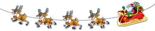 Beistle 1-Pack Santa and Sleigh Streamer, 8-Feet