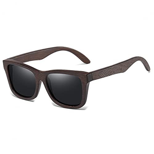Q4S Gafas De Sol Polarizadas De Madera De Bambú Gafas De Sol Cuadradas para Conducir Gafas De Hombre Uv400 Señoras Hombres,Negro