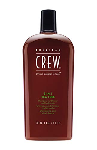 AMERICAN CREW 3-in-1 Tea Tree Shampoo Conditioner and Body Wash, 33.8 Fl Oz