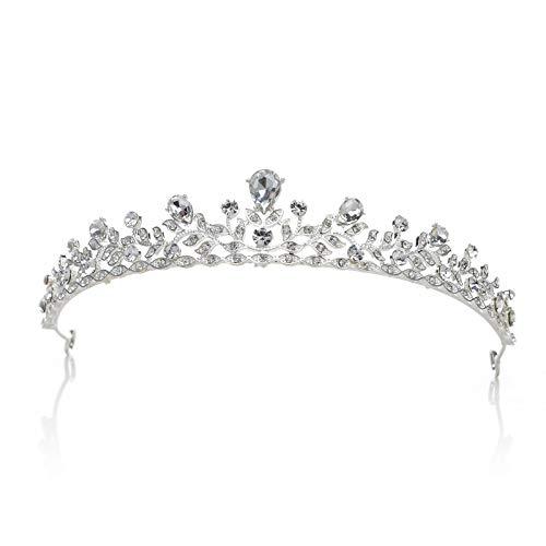 SWEETV Retro Stil Kristalle Prinzessin Krone Strass Braut Tiara Festzug Prom Hochzeit Diadem, Silber