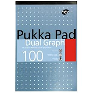 A4 Dual Graph Pad 100 Pages Of 80GSM premium Quality Graph paper Pad (Single) by PUKKA PAD
