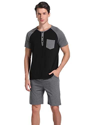 Aibrou Herren Baumwolle Kurzarm Pyjama Set, Patchwork Zweiteiliger Schlafanzug Schwarz XL