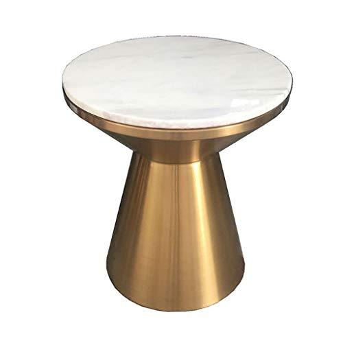 Table d'appoint Ronde Moderne Simple Marbre One-Piece End Table Iron Art Petit Appartement Tea Tea 50cm Décoration Bureau Table Basse, d'or