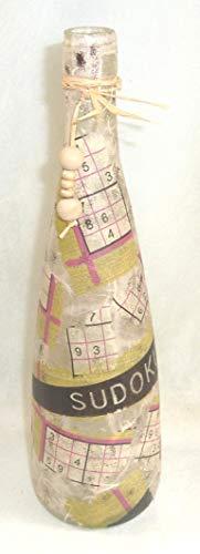 Leuchtflasche - beleuchtete Flasche - SUDOKU - creme - 31cm