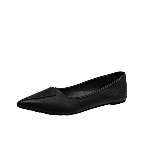 [ヤク] レディース シンプル ポインテッドトゥ パンプス ブラック セクシー ハイヒール 1cmヒール ピンヒール 宴会 フラットシューズ レディースパンプス 低反発 無地 歩きやすい 美脚 24.0cm ソフトクッション 柔らか 滑り止め