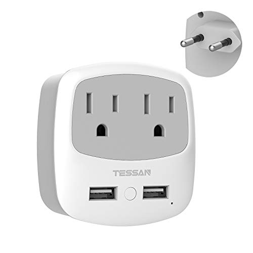 European Travel Plug Adapter, TESSAN International Power Adaptor with 2 USB 2 American Outlets, Europe Charger Adapter for US to EU Italy Spain France Germany Iceland Greece Israel (Type C)