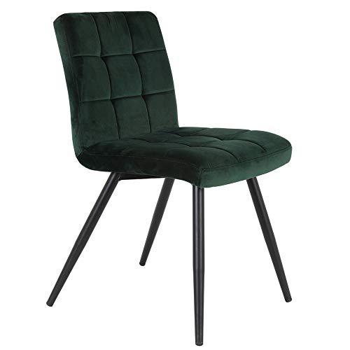 Light & Living - Juego de 2 sillas de comedor de terciopelo verde oscuro y metal negro
