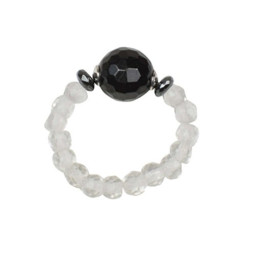 Energie-Power-Ring, flexible Größe, Bergkristall, schwarzer Turmalin, 925 Silber