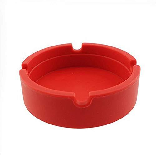 haodou–Cenicero de silicona resistente al calor de silicona ronda bandeja de ceniza para el hogar oficina Automotive viaje 8.3cm x 2.3cm rosso