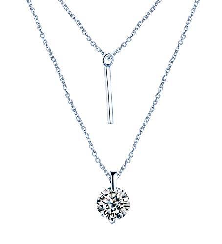 Yumilok-Moda Collares de Plata 925 Colgante Diamante Brillanre con Doble Cadena Ajustable, Color de Plateado Idea Regalo para Mujeres,Chicas