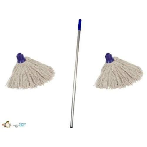 Colour Red Professional Colour Coded Mop Handle and 2 Mop Heads