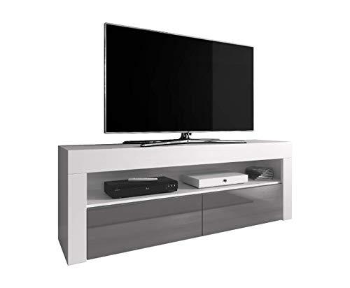 E-Com TV-Element TV Schrank TV-Ständer Entertainment Lowboard Luna 140 cm, Körper weiß Matte/Fronten Grau Hochglanz