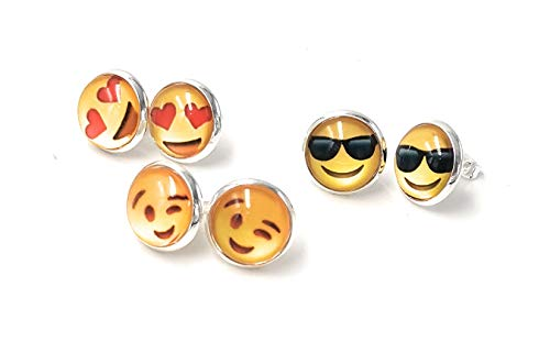 3 pares de pendientes de emoji con diseño de emoticonos