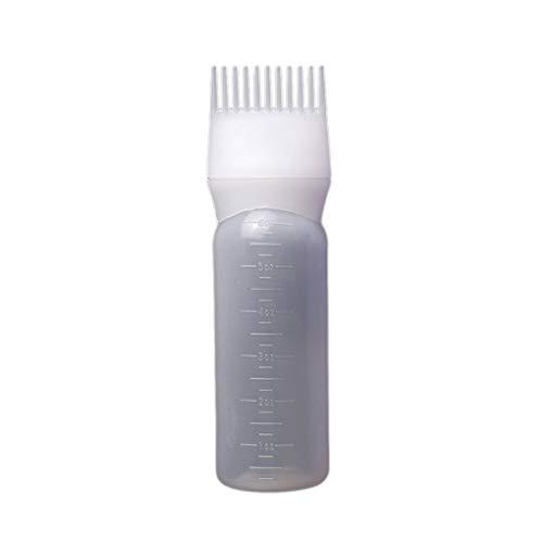 Babysbreath17 Hombres Mujeres Niñas Tinte de Pelo de raíz Pincel aplicador Recipiente Graduado Botella Escala colorante del Pelo Blanco 120ml