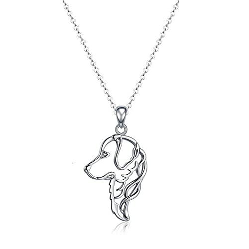 XQAQW Chica Cochecito 925 Sterling Silver Perro Animal Collares Colgantes para el Mejor Amigo Sterling Silver -60Cm_and_5Cm