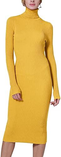 Aasinljy Vestido de suéter de punto de manga larga con cuello alto acanalado para mujer, Amarillo, Small