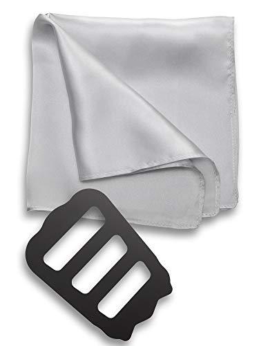 [Freate] ポケットチーフ シルク100% 大判35×35cm ホルダー&折り方ガイド付き (シルバーグレー)