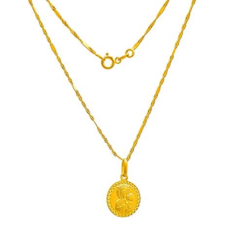 Collar de oro amarillo 333 de 8 quilates, cadena con colgante de la Virgen María y la Virgen grabado, para mujer, niña, niño
