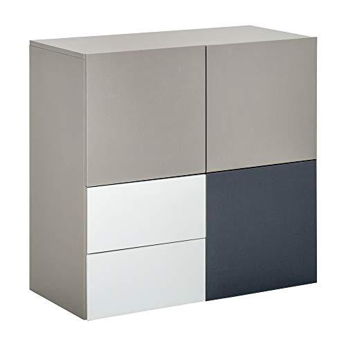 HOMCOM Buffet 2 tiroirs coulissants 3 Portes Panneaux Particules Tricolore Gris Clair, foncé et Blanc