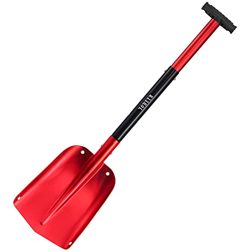 YOHEER Aluminum Utility Shovel, 3 Sections Detachable Snow Shovel Perfect for Autocross , Camping and Other Outdoor Activities (Red)