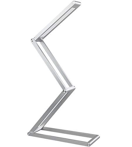 Auraglow Lampada da tavolo dimmerabile wireless USB ricaricabile pieghevole luce di lettura LED - argento