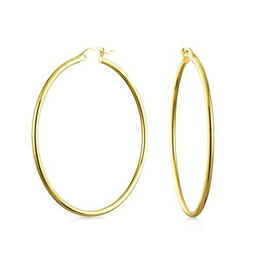 bling jewelry orecchini Semplice Minimalista 14K Real Oro Giallo Orecchini A Cerchio Per Donne Il Tubo Sottile Leggero Stile 2 Pollice Diam.